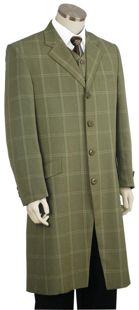 Mens Stylish Tile Pattern Flap Pocket Green Zoot Suit