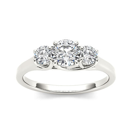 1 1/4 CT. T.W. Diamond 14K White Gold 3-Stone Engagement Ring, 7 1/2 , No Color Family