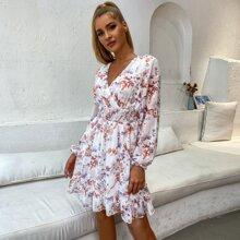 Double Crazy vestido floral bajo fruncido de cintura fruncido