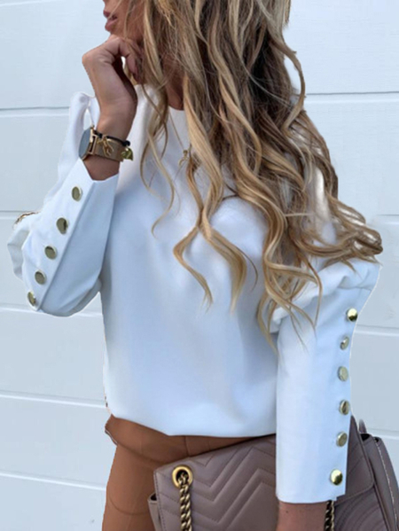 Yoins White Button Design Crew Neck Long Sleeves Blouse