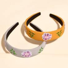2pcs Flower Embroidered Hair Hoop