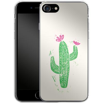 Apple iPhone 7 Silikon Handyhuelle - Linocut Cacti von Bianca Green