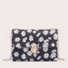 Daisy Print Chain Crossbody Bag