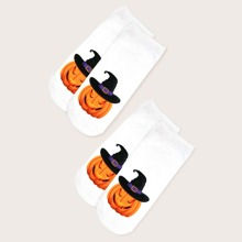2 pares calcetines con patron de calabaza y sombrero de Halloween
