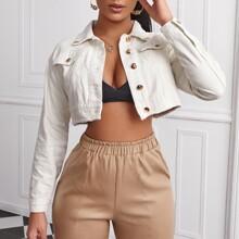 Flap Pocket Raw Hem Crop Denim Jacket