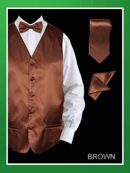 Mens 4 Piece Vest Set  Satin Brown