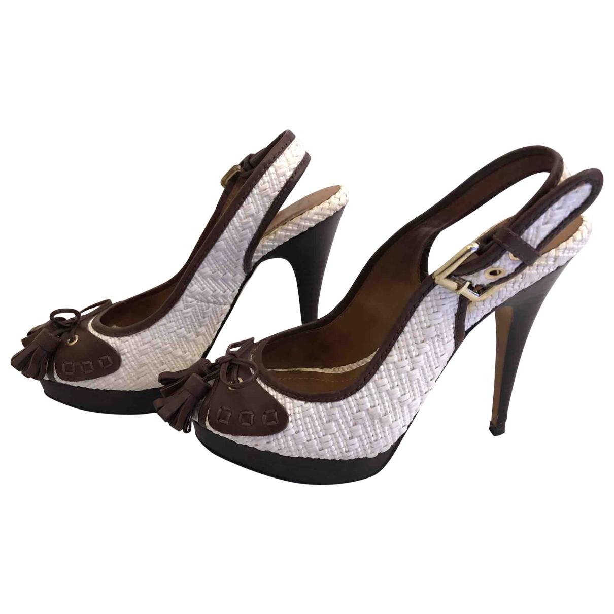 Zara \N White Leather Heels for Women 40 EU