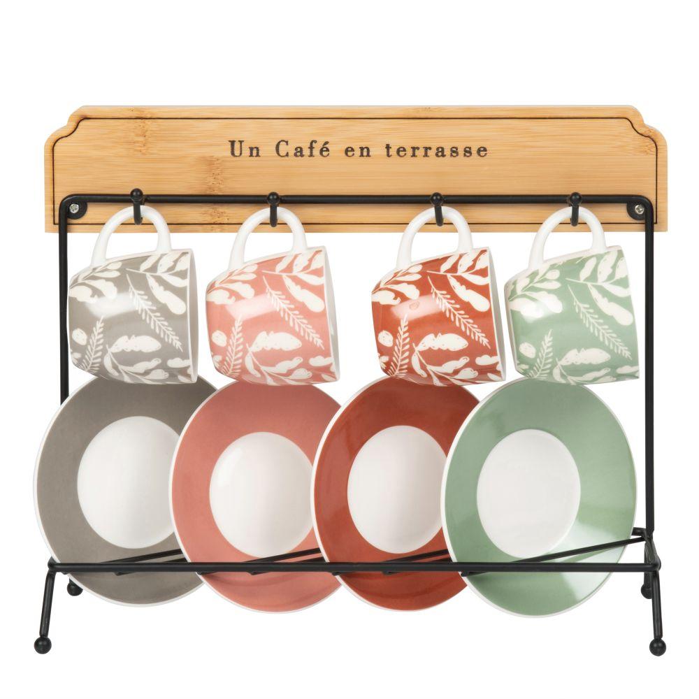 Tassen und Untertassen aus gemustertem Fayence (x4) mit Staender aus Metall und Bambus
