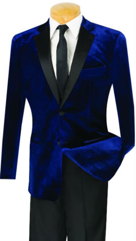 Mens Slim Fit Velvet Tuxedo With Flat Front Pant Navy