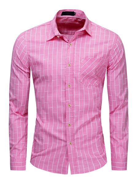 Milanoo Camisa de cuadros escoceses de algodon 100% regular fit para hombre en rosa