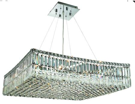 V2032D28C/EC 2032 Maxime Collection Chandelier L:28 In W:28In H:7.5In Lt:12 Chrome Finish (Elegant Cut