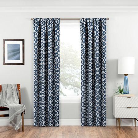 Eclipse Isanti Energy Saving Blackout Rod-Pocket Single Curtain Panel, One Size , Blue