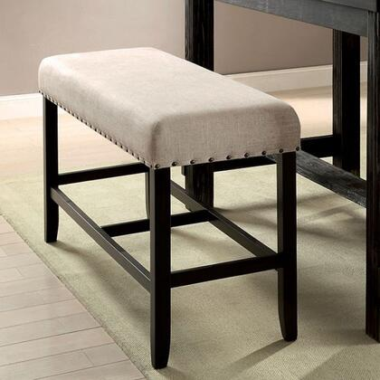 Sania II CM3324BK-PBN Counter Ht. Bench with Rustic Style  Bold Distressed Details  Ivory Linen-like Fabric  Button Tufted with Nailhead Trim in