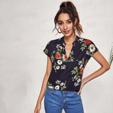 Notched Neck Floral Print Top
