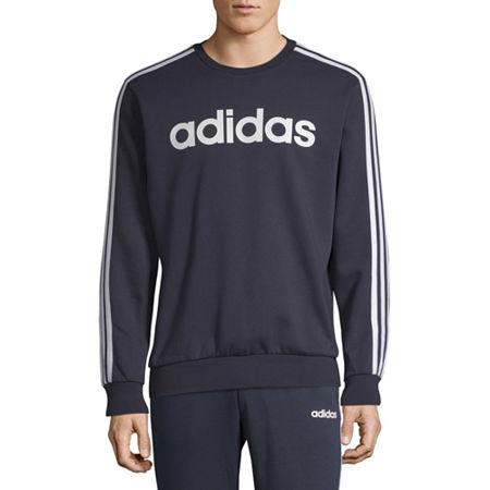 adidas Mens Crew Neck Long Sleeve Sweatshirt -Athletic, Small , Blue