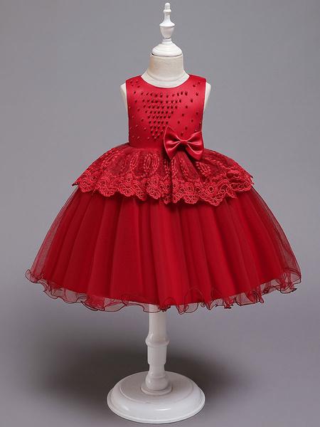 Milanoo Flower Girl Dresses Jewel Neck Tulle Sleeveless Knee Length Princess Silhouette Bows Formal Kids Pageant Dresses
