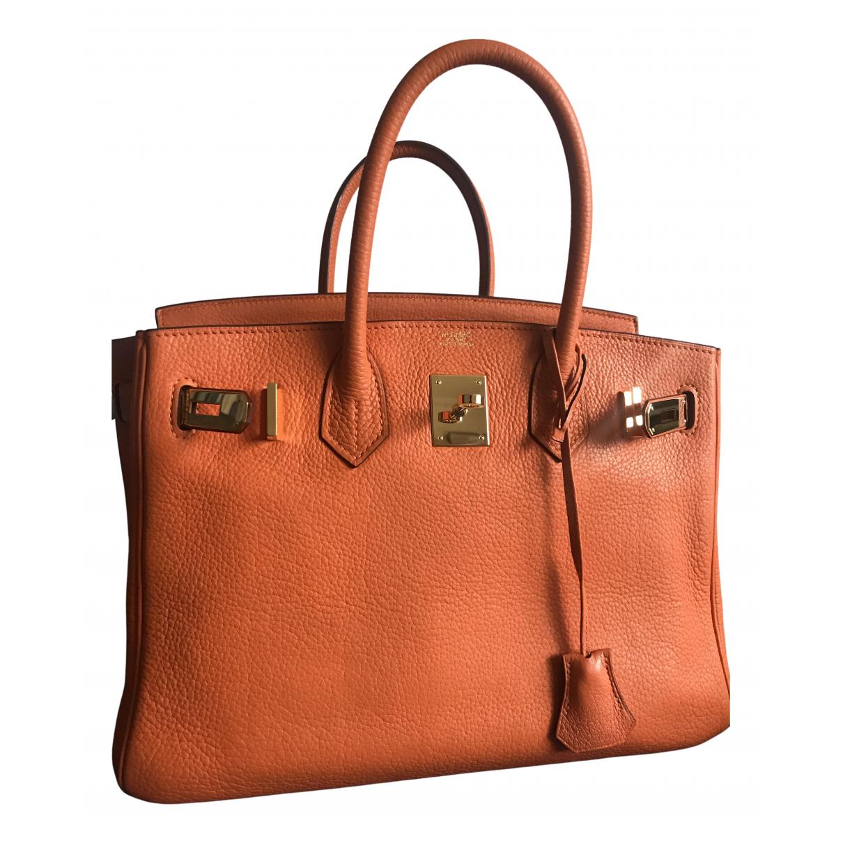 Hermes Birkin 30 Handtasche in  Orange Leder