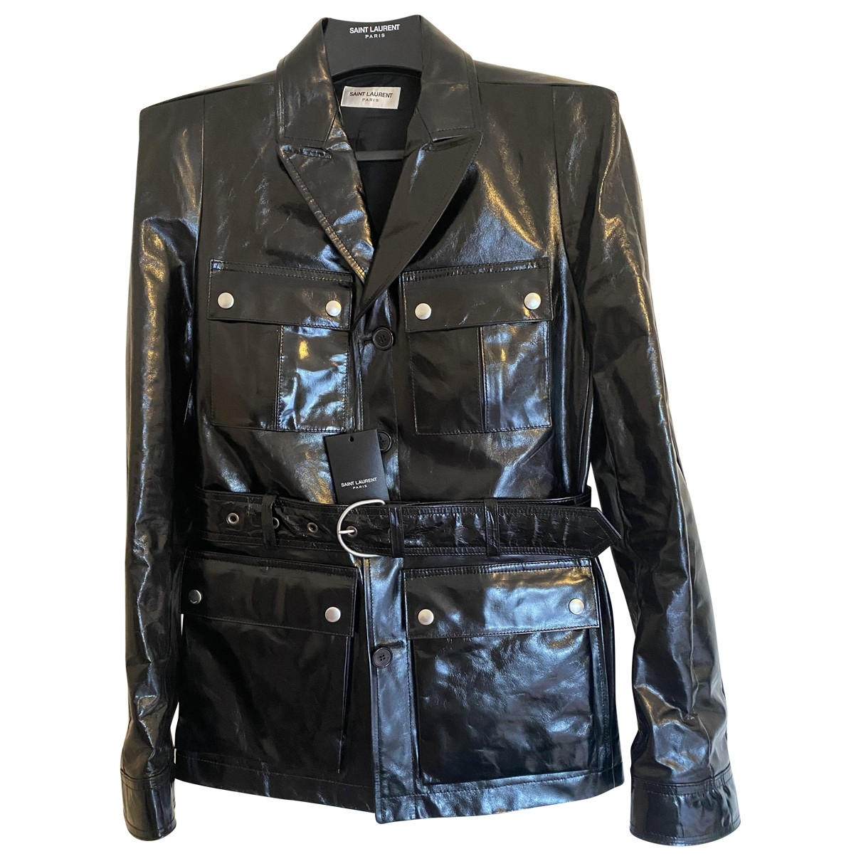 Saint Laurent \N Jacke in  Schwarz Leder