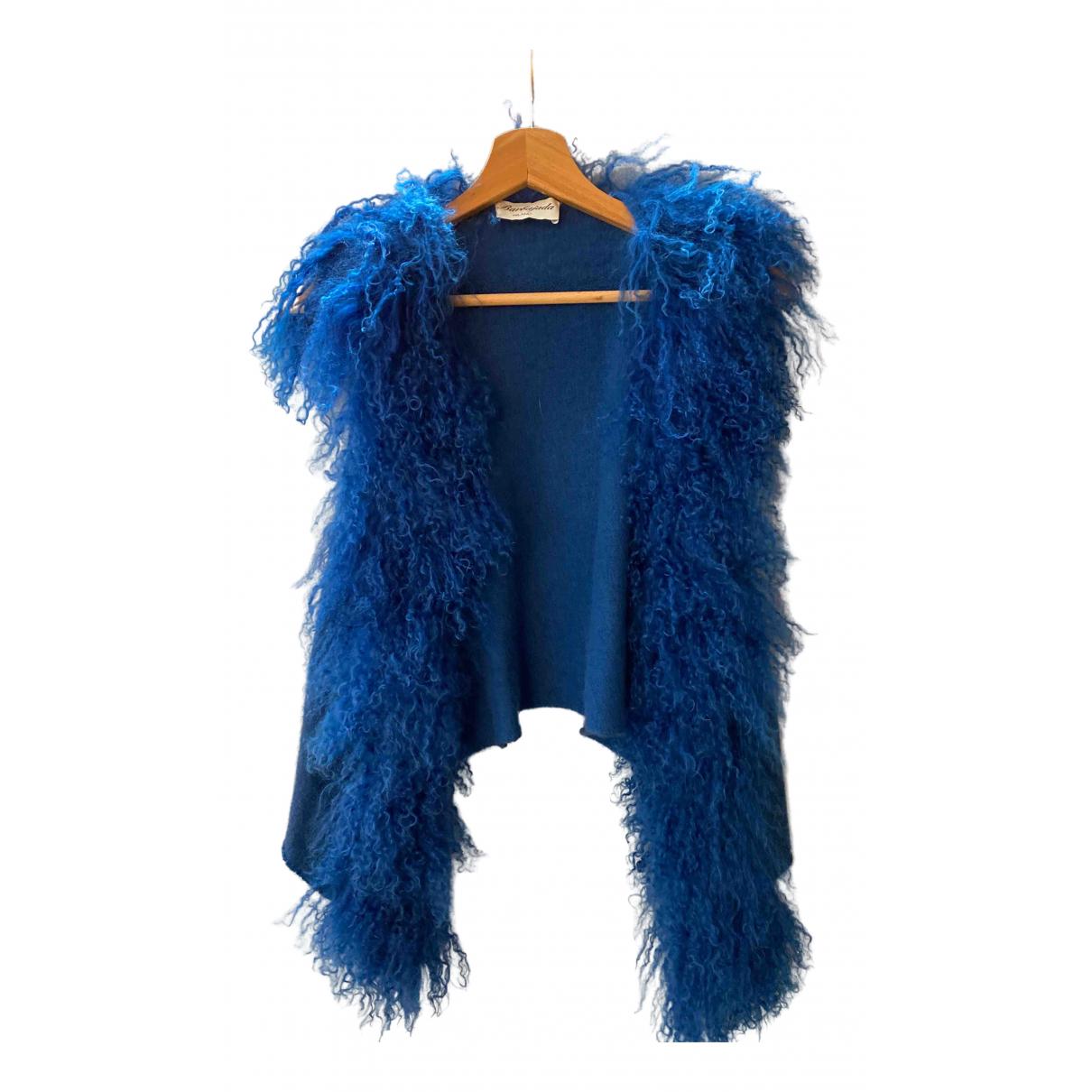 Barbajada - Pull   pour femme en fourrure - bleu