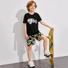 Boys Car Print Top & Camo Shorts Set