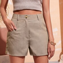 Button Side Slant Pocket Shorts