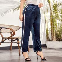 Samt Hose mit elastischer Taille, Streifen und seitlichem Band