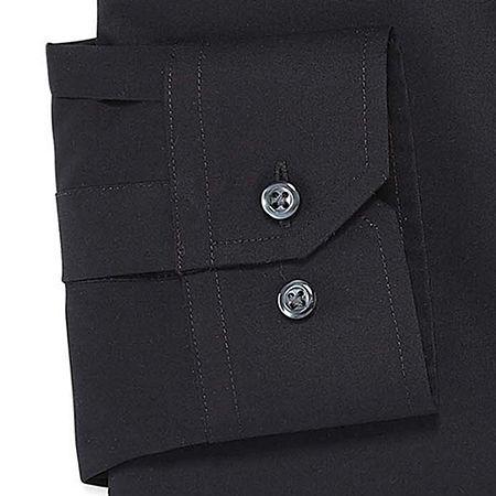Stafford Mens Travel Easy-Care Broadcloth Stretch Regular Fit Dress Shirt, 16.5 36-37, Black