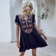 Plants Embroidery Notched Neck Dress