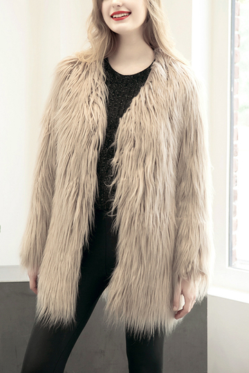 Yoins Light Khaki Fashion Long Sleeves Artificial Fur Longline Coat