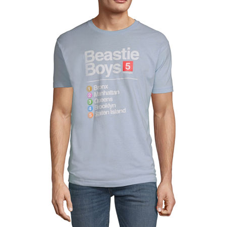 Beastie Boys Subway Mens Crew Neck Short Sleeve Music Graphic T-Shirt, Small , Blue