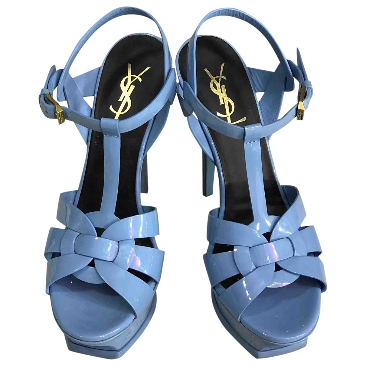 Saint Laurent Tribute Turquoise Patent leather Sandals for Women 37.5 EU