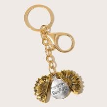 Slogan eingraviert Sunflower Decor Keychain