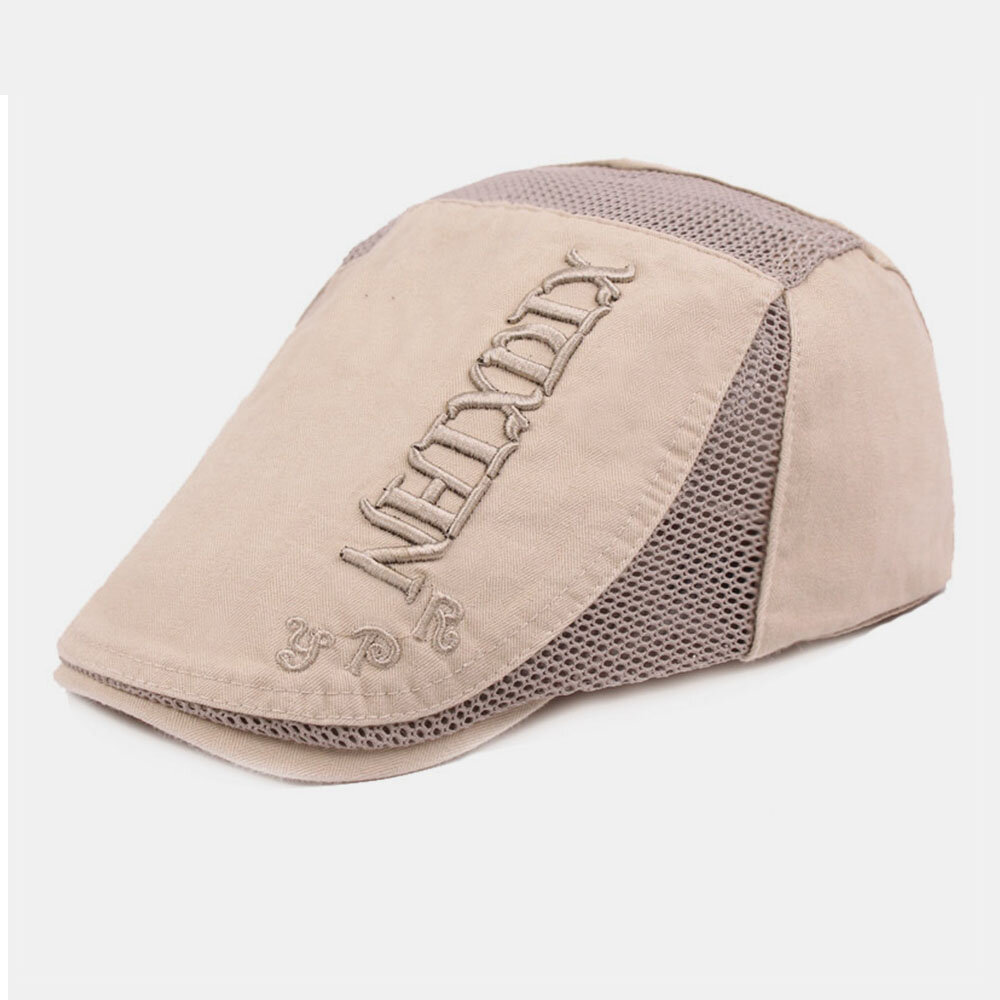 Men Embroidery Casual Berathable Mesh Hat Short Brim Visor Go Out Forward Hat Beret Hat Flat Hat