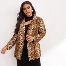 Blazers de talla grande Boton delantero Leopardo Elegante
