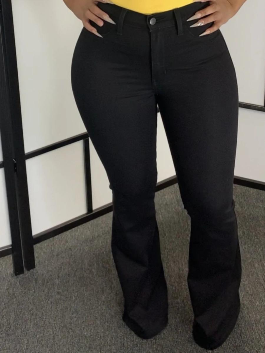 LW lovely Trendy Basic Flared Black Jeans