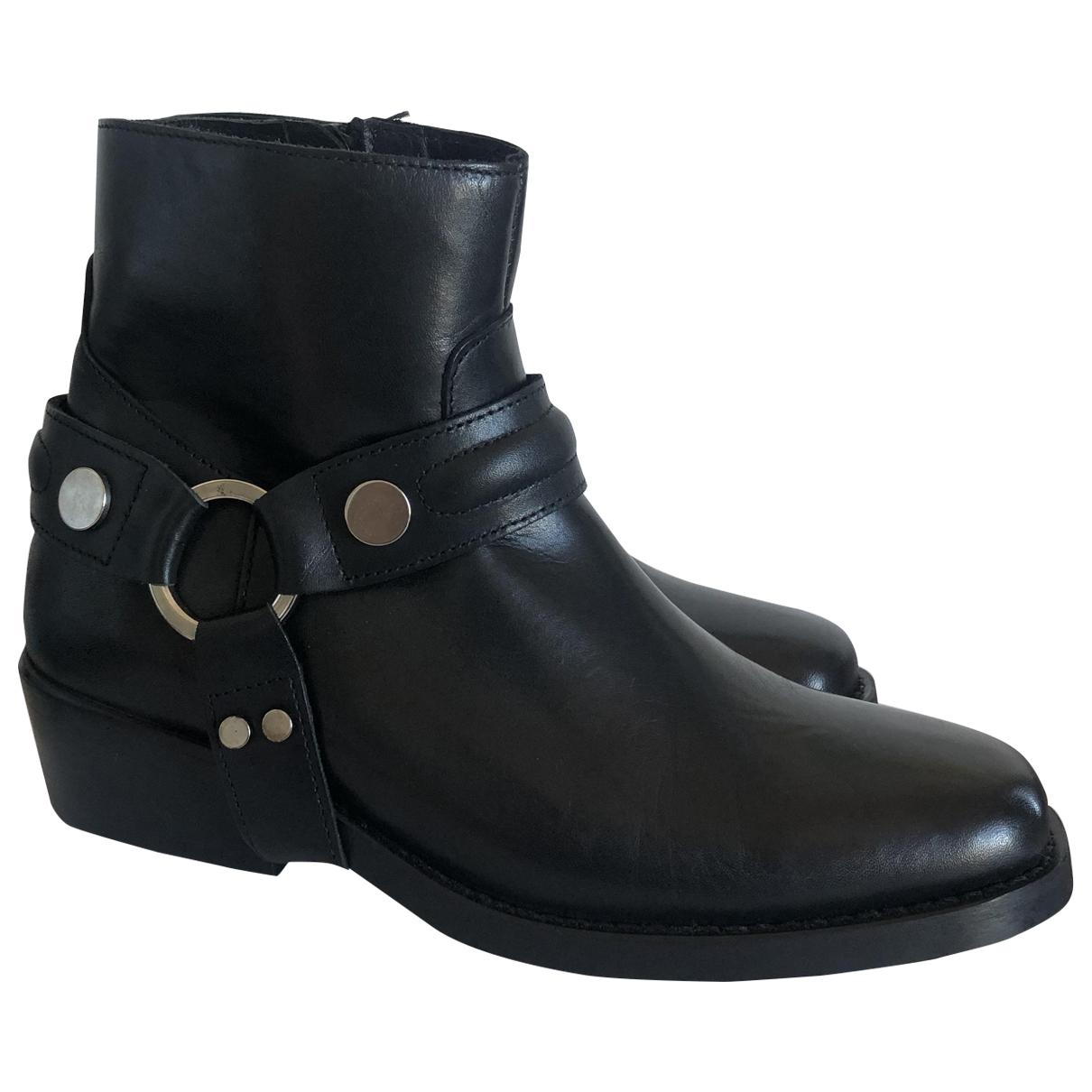 Claudie Pierlot - Boots   pour femme en cuir - noir