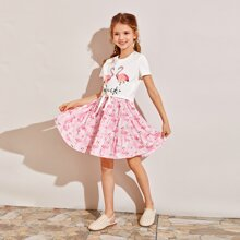 Girls Flamingo and Letter Print Tie Hem Tee and Skirt Set