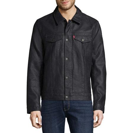 Levis Mens Faux Leather Trucker Jacket, Large , Blue