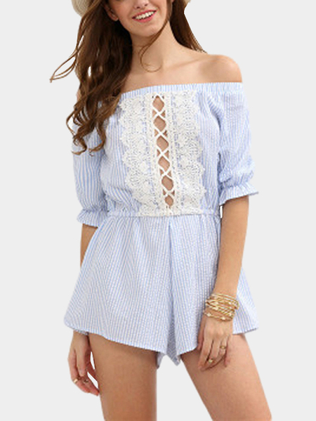 Yoins Stripe Pattern Bateau Playsuit With Lace Insert