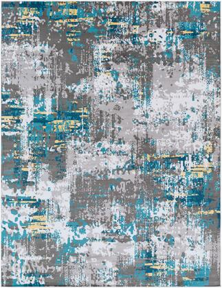 Rafetus ETS-2304 710 x 102 Rectangle Modern Rug in Teal  Medium Gray  Charcoal  Butter