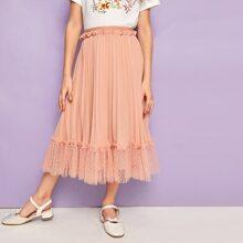 Girls Frill Detail Mesh Ruffle Hem Pleated Chiffon Skirt