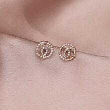 Rhinestone Round Design Stud Earrings