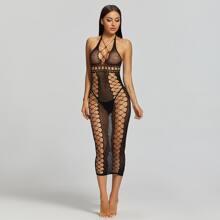 Fishnet Cut-out Sheer Bodycon Dress