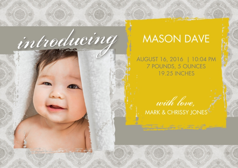 Newborn Flat Matte Photo Paper Cards with Envelopes, 5x7, Card & Stationery -Vintage Gold Birth Announcement