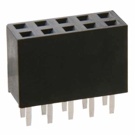 HARWIN , M20 2.54mm Pitch 10 Way 2 Row Vertical PCB Socket, Through Hole, Solder Termination (5)
