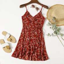 Cami Kleid mit Gaensebluemchen Muster, seitlichem Band, Rueschen und Wickel Design