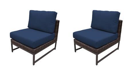 TKC049b-AS-DB-BRN-NAVY Barcelona Armless Chair 2 Per Box - Beige and Navy