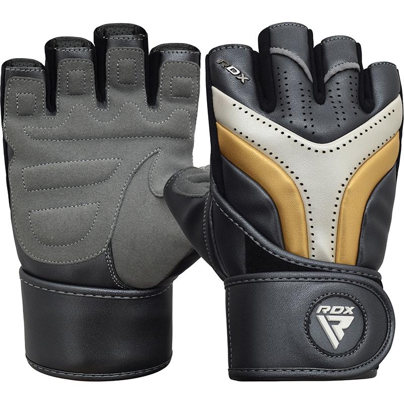 RDX T17 Gym Workout Gloves Large Golden/Blue/White