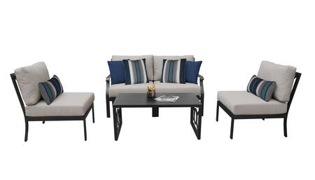 MADISON-05d-BEIGE Kathy Ireland Homes and Gardens Madison Ave. 5 Piece Aluminum Patio Set 05d with 1 Set of Snow and 1 Set of Almond