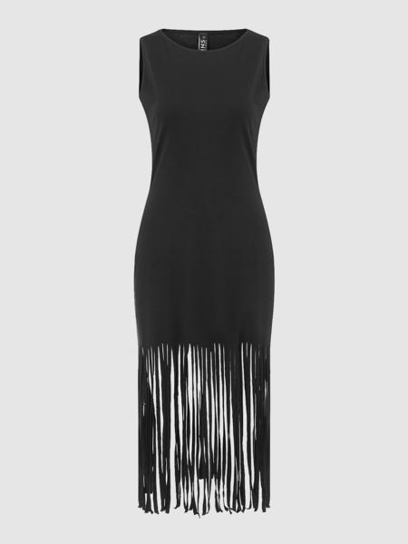 Yoins Black Sleeveless Dress With Tassel Hem